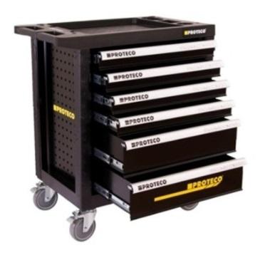 proteco dielenský vozík bez náradia, 6 zásuviek